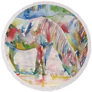 Horse Painting.27 Round Beach Towel