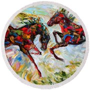 Horse Play Round Beach Towel