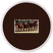 Horse Play Painting  Round Beach Towel