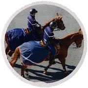 Horse Police Round Beach Towel