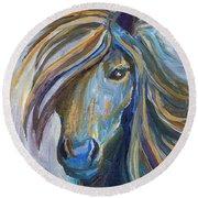 Horse Portrait 102 Round Beach Towel