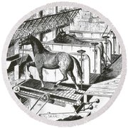 Horse Powered Stall Cleaner, 1880 Round Beach Towel
