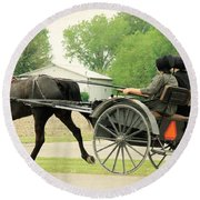 Horse Powered Transportation Round Beach Towel
