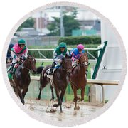 Horse Races At Churchill Downs Round Beach Towel