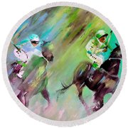 Horse Racing 04 Round Beach Towel