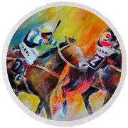 Horse Racing 05 Round Beach Towel