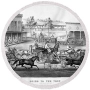 Horse Racing, C1869 Round Beach Towel