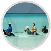 Horse Riders In The Surf Round Beach Towel