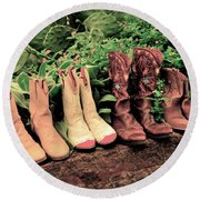 Horse Riding Boots Round Beach Towel