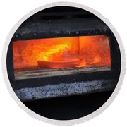 Horse Shoes On Fire Round Beach Towel