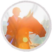 Horse Show Flares Round Beach Towel