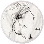 Horse Sketch 2014 05 24a Round Beach Towel