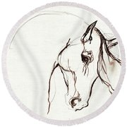 Horse Sketch Round Beach Towel