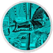 Turquoise Horse E Round Beach Towel