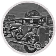 Horseless Carriages Round Beach Towel