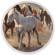 Horses 7 Round Beach Towel