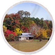 Horses And Barn In The Fall 2 Round Beach Towel