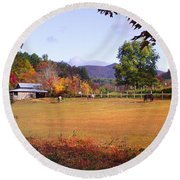Horses And Barn In The Fall 4 Round Beach Towel