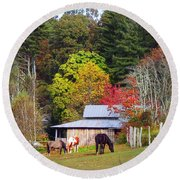 Horses And Barn In The Fall Round Beach Towel