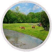 Horses At Home On The Range Round Beach Towel