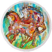 Horses At Play II Round Beach Towel