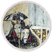 Horses At Stephansdom  Round Beach Towel