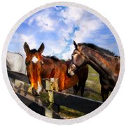 Horses At The Fence Round Beach Towel