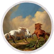Horses Balking At Approaching Storm Round Beach Towel