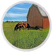 Horses By A Barn Along Confederation Trail-pei Round Beach Towel