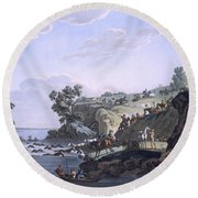 Horses Crossing A River, 1812-13 Round Beach Towel