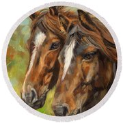 Horses Round Beach Towel by David Stribbling