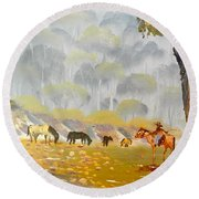 Horses Drinking In The Early Morning Mist Round Beach Towel