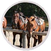 Horses Glacier National Park Montana Round Beach Towel