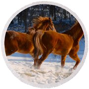 Horses In Motion Round Beach Towel
