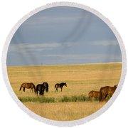 Horses In Saskatchewan Round Beach Towel