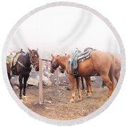 Horses In The Mist - Haleakala Round Beach Towel