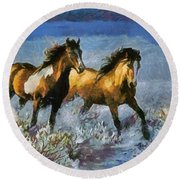 Horses In Water Round Beach Towel