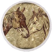 Horses On Marble Round Beach Towel
