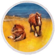 Horses On The Coast Of Brittany Round Beach Towel