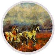 Horses On The Gogh Round Beach Towel