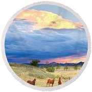 Horses On The Storm 2 Round Beach Towel