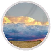 Horses On The Storm Round Beach Towel