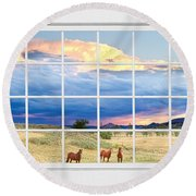 Horses On The Storm Large White Picture Window Frame View Round Beach Towel