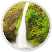 Horsetail Falls In The Spring Round Beach Towel