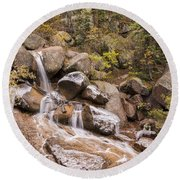 Horsethief Falls - Cripple Creek Colorado Round Beach Towel