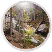 Horsethief Falls Sunburst - Cripple Creek Colorado Round Beach Towel