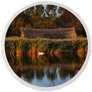 Horsey Mere On The Norfolk Broads On A Still Day In Autumn Round Beach Towel