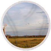 Horsey Windmill In Autumn Round Beach Towel