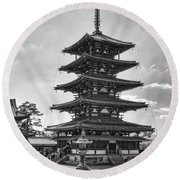 Horyu-ji Temple Pagoda B W - Nara Japan Round Beach Towel