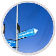 Hospital Signs Round Beach Towel by Tom Gowanlock